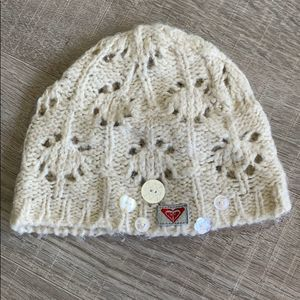 Roxy Wool Blend Cream Knit Hat with Button Detail